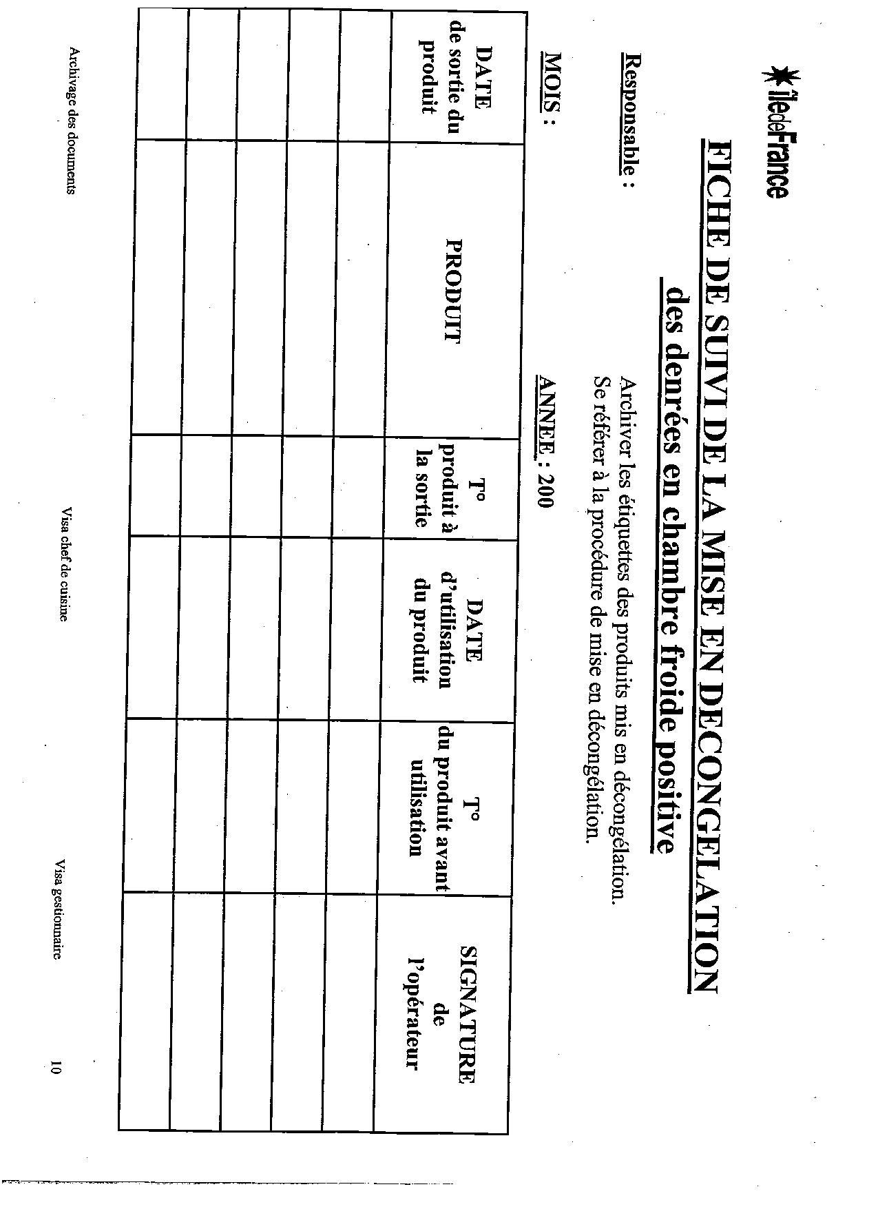 les fiches d'enregistrement pour le haccp. | recettes de cuisine ... - Procedure Haccp Cuisine